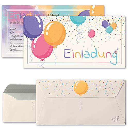 Any Age Art Luftballons Einladungskarten mit Umschlägen Set 12 - Kindergeburtstag Einladungen Kinder Mädchen Jungen Geburtstag Karten Feier Party Ballons (12 Einladungskarten + 12 Umschlägen)