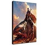 SANTA RONA The Mandalorian Ride Blurrg Painting Wallpaper Star Wars Movie Poster Print on Canvas Mural for Home Room Wall Art Decoration (12'x18', No Framed)