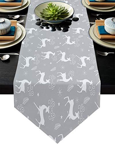 Camino de mesa con diseño de bandera americana, bufandas de lino y algodón para cenas familiares, bodas, eventos, decoración de fiestas, estilo campestre de leopardo, 33 x 228 cm