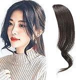 Dsoar 2PCS Wave Side Bangs Real Human Hair Clip In Bangs Wave Fringe Hair Extensions(Natural Black Color)