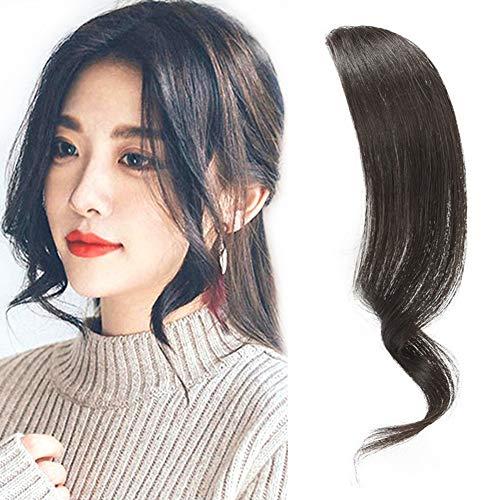 Dsoar 2PCS Wave Side Bang Clip in Bangs Real Human Hair Wave Fringe Hair Extensions(Natural Black Color)