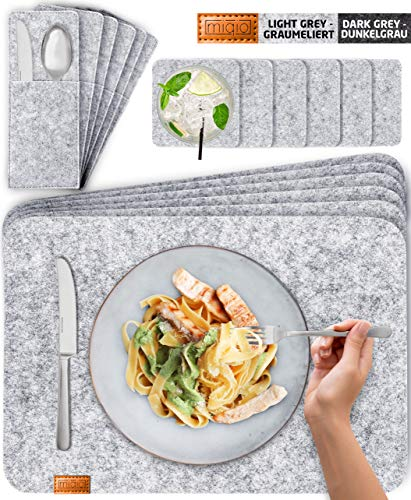 Miqio® Design Filz Tischset abwaschbar   Mit Marken Echtleder Label   18er Set - 6 Platzsets abwaschbar, Glasuntersetzer, Bestecktaschen   grau meliert   Filzmatte Platzdeckchen abwischbar