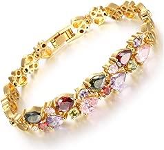 Sgsg Simple Style Bracelet Design Colorful AAA Zircon Bracelet 18K Gold Women Bracelet Fashion Jewelry,19.5 cm,gift