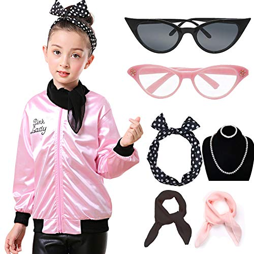 1950s Child Pink Jacket Halloween Costume Outfit Set with Scarf (XS, Pink)