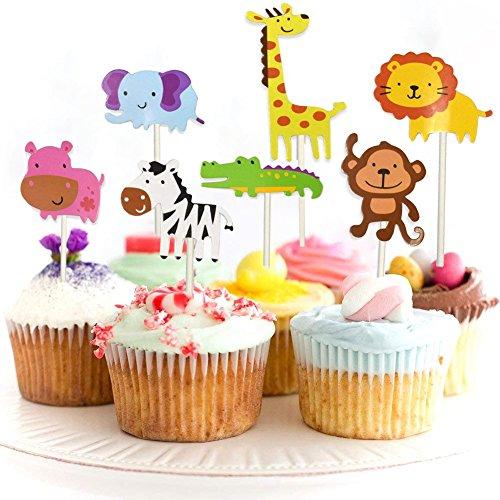 JINMURY 35 Stück süßer Zoo/Dschungel-Themed Tier Kuchendeckel Topper für Kinder Baby Party Geburtstag Party Kuchen Dekoration Supplies Löwe Nilpferd AFFE Elefant Zebra Giraffe Krokodil