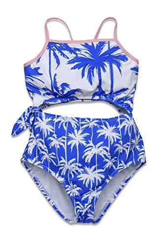 Hobie Girls' Keyhole Side Tie One Piece Swimsuit, Periwinkle//Miami Palm, 10