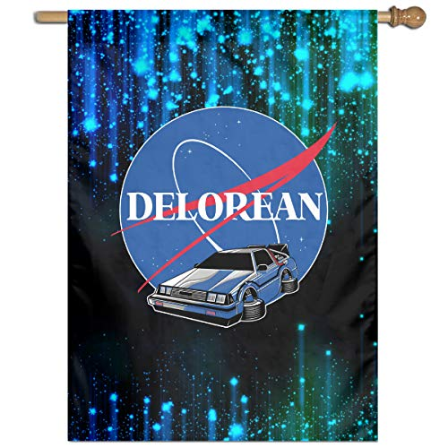 SJJY Delorean NASA Garden Yard Flag Home Outdoor Indoor Decor 27' X37' Inch