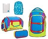 satch pack Flash Jumper 5er Set Rucksack, Sporttasche, Schlamperbox, Stylerbox & Regencape Blau