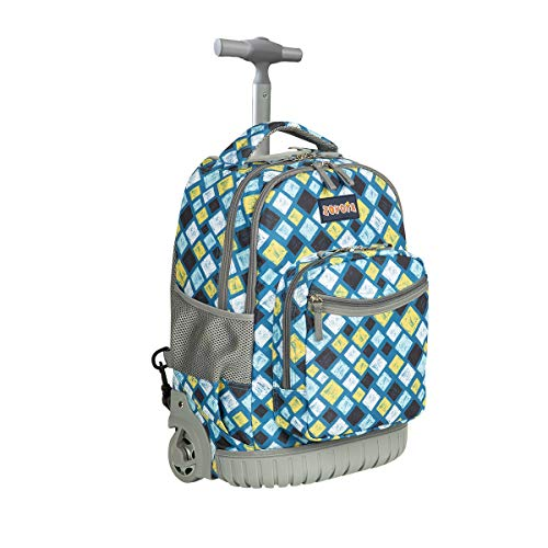 Schulranzen mit Rollen für Mädchen Jungen Kinder,ZOVOTA Schultrolley Schultaschen Schulrucksack Trolley Kinderrucksack 1. Klasse bis 12.Klasse 18 Zoll 20L Kariert