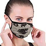 NoneBrand Cotton Half Face Mouth Cover for Men Women With Adjustable Ear Loops set different bears grunge Halftone