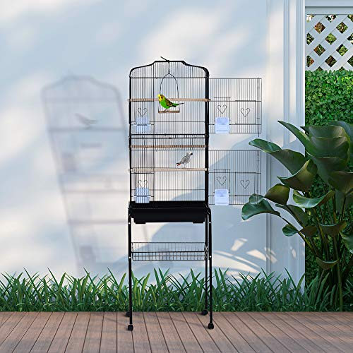 Pawhut Jaula de Pájaros con 2 Puerta Jaulas para Aves con 4 Ruedas Universales Jaulas para Canarios Loros 47,5x37x153 cm Negro