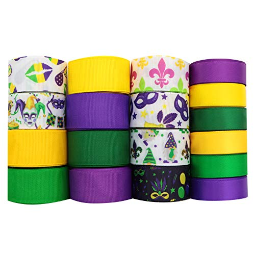 David accessories Mardi Gras Day Double Face Satin Ribbon Purple Green Yellow Color Grosgrain Ribbon Assorted 25/16mm 36Yards for DIY Gift Wrapping Floral Bow Making (Pattern B)