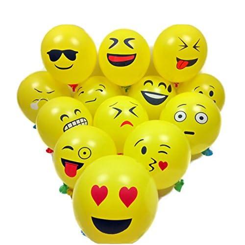 Amazon 12 Emoji Smiley Face Expression Yellow Latex Balloons 50 CountWedding Birthday Party Decor Children Kids Gift Toys Games