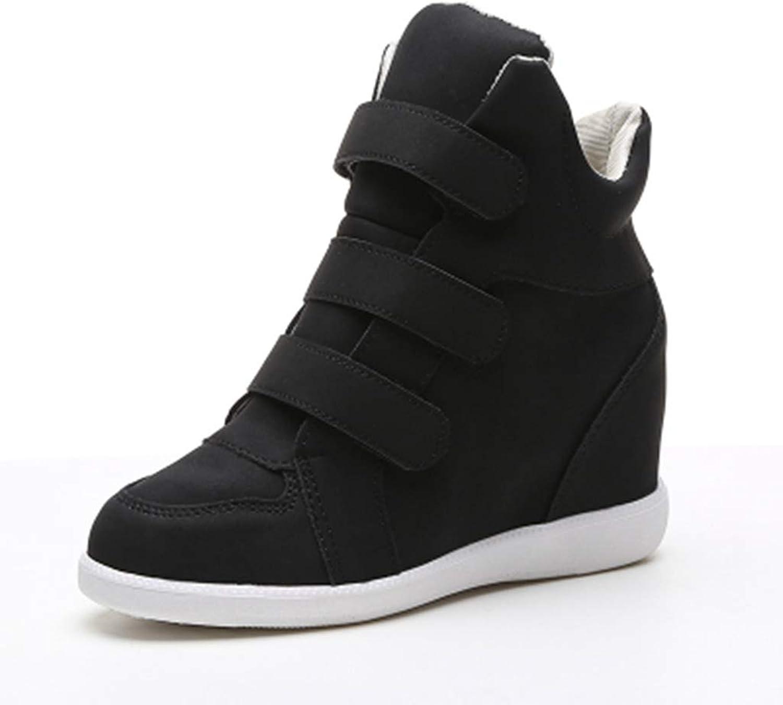 ASO-SLING Women Hidden Heel Platform Wedge Sneakers Casual shoes Ankle Booties Hook&Loop Fashion Sneakers