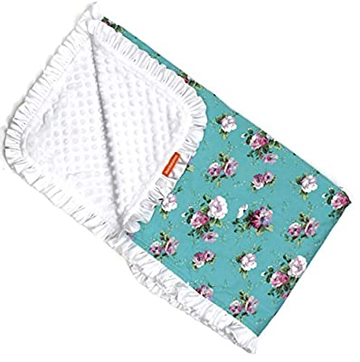 Dear Baby Gear Deluxe Baby Blankets, Cotton Vintage Floral White Roses on Blue, White Minky Dot with White Ruffle, 38 Inches by 29 Inches
