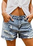 HOTAPEI Damen Lochjeans Shorts Sommer Beiläufige High Waist Zerrissenes Hotpants Jeans Boyfriend Gewaschene Distressed Löcher Kurz Denim Hosen