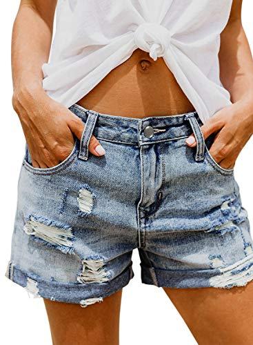 HOTAPEI Damen Lochjeans Shorts Sommer Beiläufige High Waist Zerrissenes Hotpants Jeans Boyfriend Gewaschene Distressed Löcher Kurz Denim Hosen,Blau,L