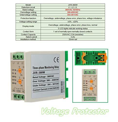 Overspanningsrelais 380 V, 50/60 Hz bewakingsrelais fasedoor-beschermingsrelais, 35 mm rail spanningsbeveiliging, gebruik in elektrische motoren, ventilatoren, waterpompen, luchtcompressoren