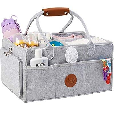 Baby Diaper Caddy Organizer - Extra Large 17 x 12 x 9 inch Changing Table Organizer and Nursery Essential Storage Bin – Baby Organizer with Diaper Changing Pad Bonus