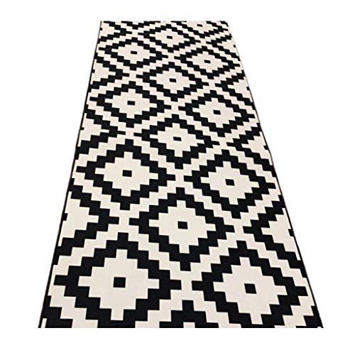 Jcy-La alfombra de Piso para Sala de Estar Cocina Resistente Al Desgaste, Estilo Moderno Simple, Alfombra A Cuadros En Blanco Y Negro (Color : Black and White Plaid, Size : 0.8x4m)