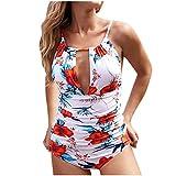 Yookstar - Bañador para Mujer con diseño de Flores, Espalda Descubierta, 1 Pieza, Push-up, bañador Sexy con Forma de V Blanco S