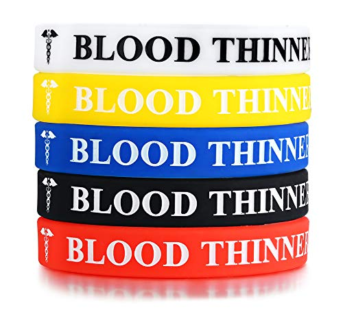 Great Features Of MPRAINBOW 5 Pcs Silicone Rubber Blood THINNER Medical Alert ID Wristband Emergency...