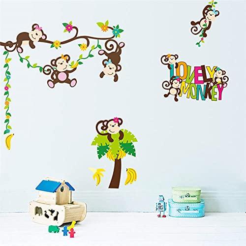 Dibujos animados Clever Monkey Tree Wall Etiqueta de la pared Sala de estar Decoración de la decoración Art Mural Pegatinas de pared para niños Habitaciones