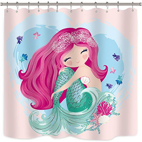 Riyidecor Cute Mermaid Shower Curtain Girls Cartoon Kids...