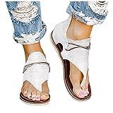 AIchenYW - Sandali da donna, alla moda, piatti, a T, con cinturino a comfy semi trailer, sandali da spiaggia infradito, pantofole, sandali piatti casual con cinturino alla caviglia, da donna