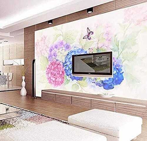 Fotomurales Flor Hortensia Jardín Pared Pintado Papel tapiz 3D Decoración dormitorio Fotomural de estar sala sofá mural-430cm×300cm