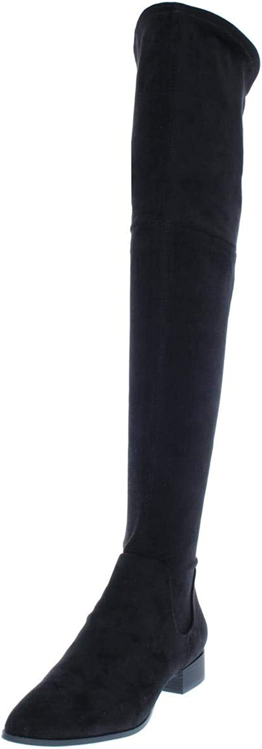 DKNY Womens Tyra Faux Suede Stretch Over-The-Knee Boots
