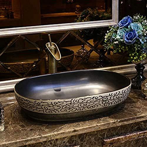 Wieoc Waschtischkonsole Bad Xiangyun Kunst Aufsatzbecken Oval Keramik Waschbecken Antikes Waschbecken Vintage Waschbecken Waschbecken Wasserhahn 1 Satz