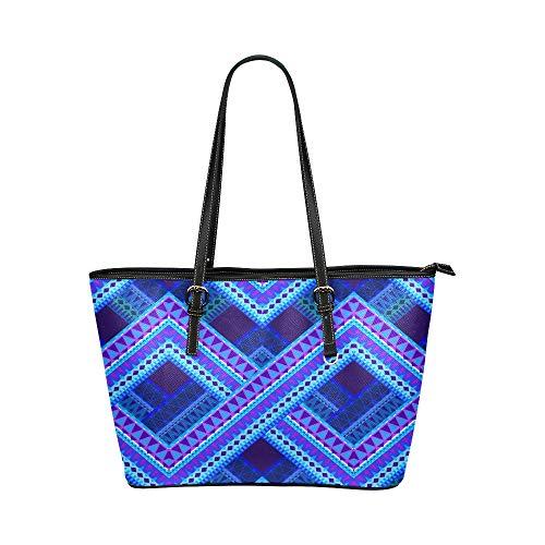 Tartan blu Plaid modello stile grande in pelle portatile superiore manico borse a mano borse causali borse a spalla con zip shopping bag bagaglio organizer per signora ragazze delle donne