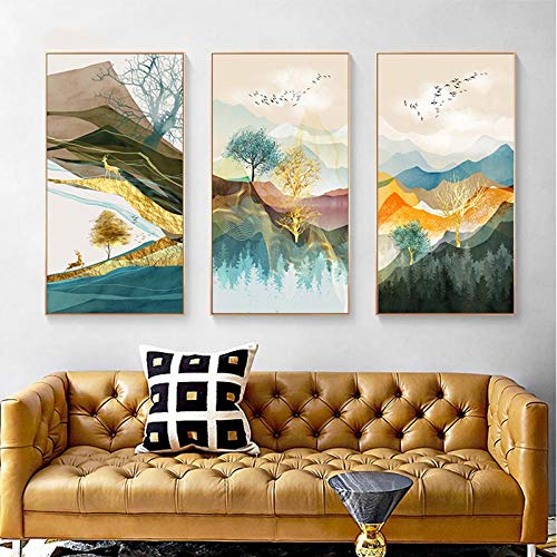 LELME Abstrakte Poster Drucke Moderne Wandmalerei Nordische Wandbilder Wohnzimmer Landschaft Leinwand Wandkunst Dekor-50x70cmx3pcs Kein Rahmen