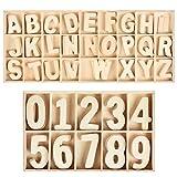 WOWOSS Lot de 180 Lettres et Chiffres en Bois Naturel - 5 Set de Lettre Majuscule et de Chiffres 0 à 9 pour Enseignments des Enfants ou Décoration Créatives de Maison