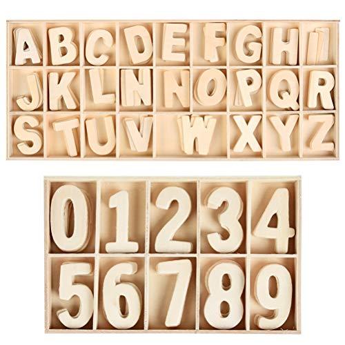 WOWOSS 180 Piezas Letras y Números en Madera Natural - 5 Conjunto de Mayúsculas y Números del 0 al 9 para Manualidades DIY Decoración del Hogar e Enseñanza Infantil
