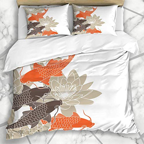 Duvet Cover Sets Swim Brown Fish Koi Nature Asian Orange Lotus Flower Carp Retro Microfiber Bedding with 2 Pillow Shams