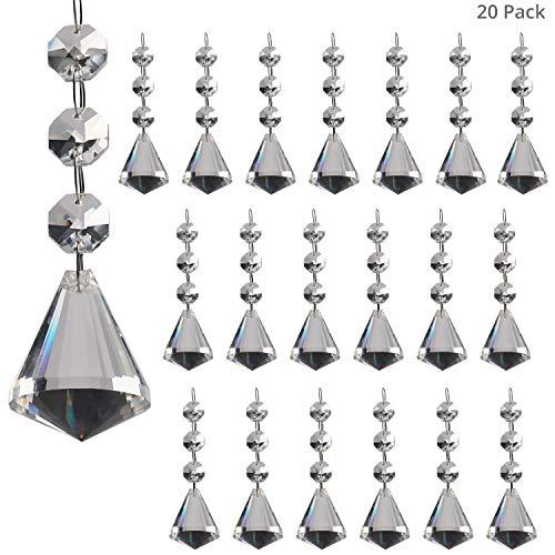 Belle Vous Pendenti per Lampadari Sun Catcher (20pz) - Cristallo per Lampadari a Diamante 4 cm - Cristalli Gocce di Vetro per Lampadari Rifrazione Luce per Finestre, Soffitti - Cristallo da Appendere
