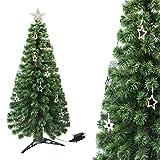 Arcoiris® Árbol de Navidad con Luz LED Árbol de Fibra Óptica de Navidad con el Cambio de Color Luz LED + Fibra Óptica (60CM, Óptica con Calido Estrella)
