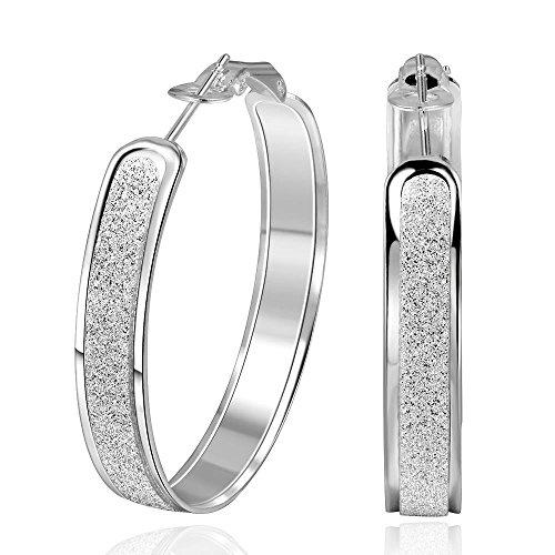AMDXD Juwelier -Damen Creolen Silber- Versilbert 2Pcs Ohrschmuck