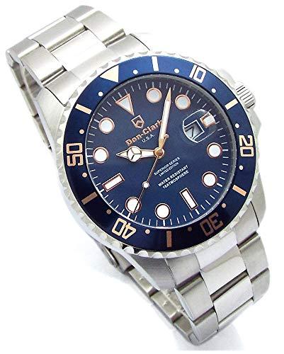 Don Clark 150本限定モデル ダイバーズウォッチ ネイビーベゼル メンズ 腕時計 ロック式リューズ 回転ベゼル 日付表示 holomua DM-2061-04H [並行輸入品]