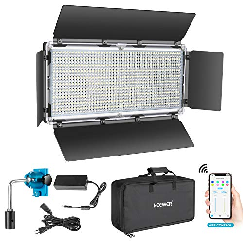 Neewer Luce 960 LED Controllo Intelligente via APP, Dimmerabile 3200-5600K Bicolore Kit d'Illuminazione con LCD Display & Involucro in Metallo, per Illuminazione per YouTube in Studio all'Apert