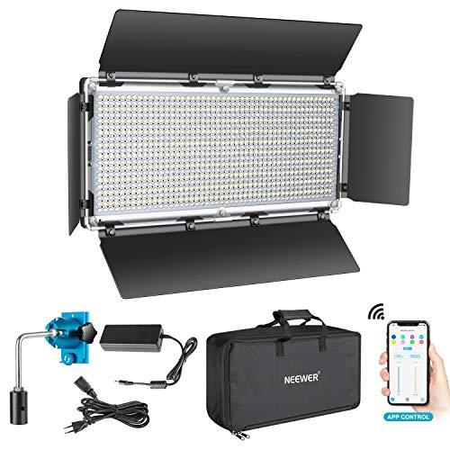 Neewer Luce 960 LED Controllo Intelligente via APP, Dimmerabile 3200-5600K Bicolore Kit d'Illuminazione con LCD Display & Involucro in Metallo, per Illuminazione per YouTube in Studio all'Aperto