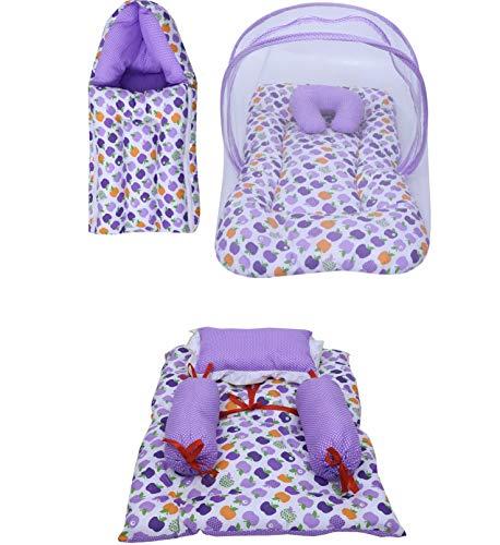Fareto® Combo of Baby Mattress with Net | Sleeping Bag | 4 Pcs Bedding Set(0-6 Months)(PID: Purple Apple)