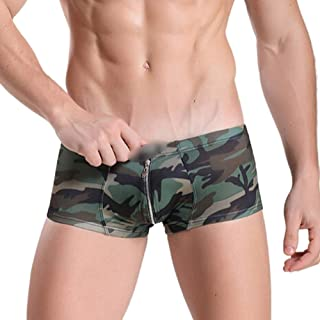 LUKEEXIN Men's Underwear Printed Sexy Low Waist Camouflage Men's Boxer Briefs, Zipper Design Men's Boxer