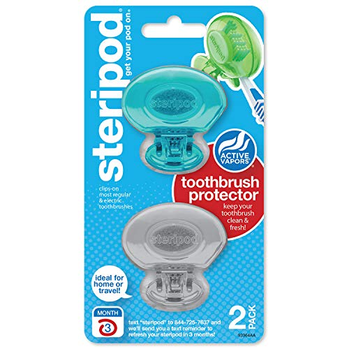 Steripod Clip-on Toothbrush Protector, Blue/Silver, 2 Count
