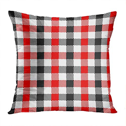 Pamela Hill Throw Pillow Decor Square 20 x 20 Inch Buffalo Plaid Black Red Gingham Squares Funda de cojín Decorativa súper Suave
