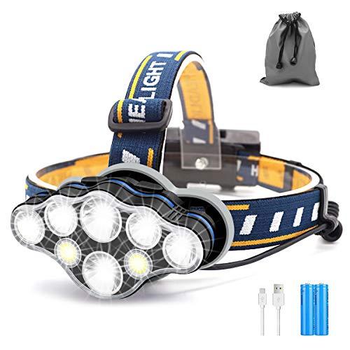 Linterna Frontal, 8 LED 8 Modos Linterna Cabeza Recargable Por USB Súper Brillante, Led Ajustable En ángulo De 90 Grados, Linterna Impermeable Perfecta para Correr, Pescar, Acampar, Leer