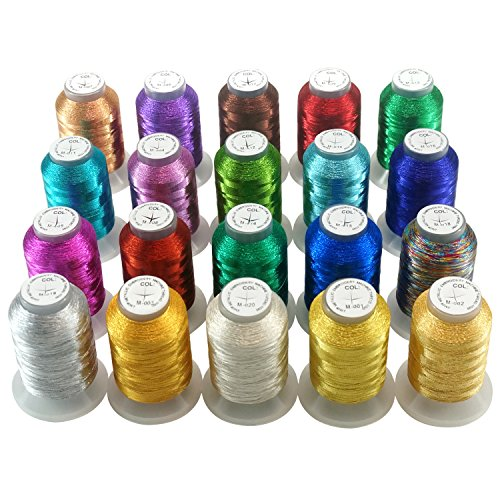 New brothread 20 Assorted Colors Metallic Embroidery Machine Thread Kit 500M (550Y) Each Spool for Computerized Embroidery and Decorative Sewing
