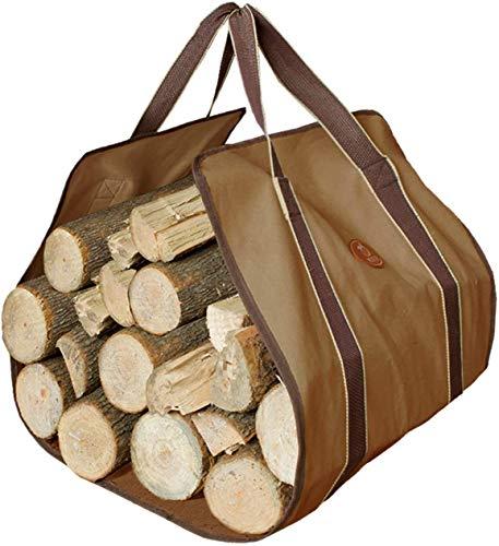 MDSTOP Tragetasche für Holzscheite und Kaminholz, große Kapazität, mittelgroß, Khaki